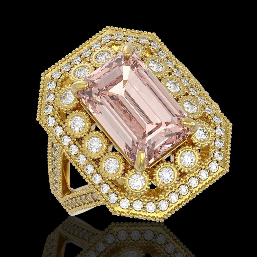 6.08 ctw Morganite & Diamond Ring 14K Yellow Gold - REF-226V4Y - SKU:43387