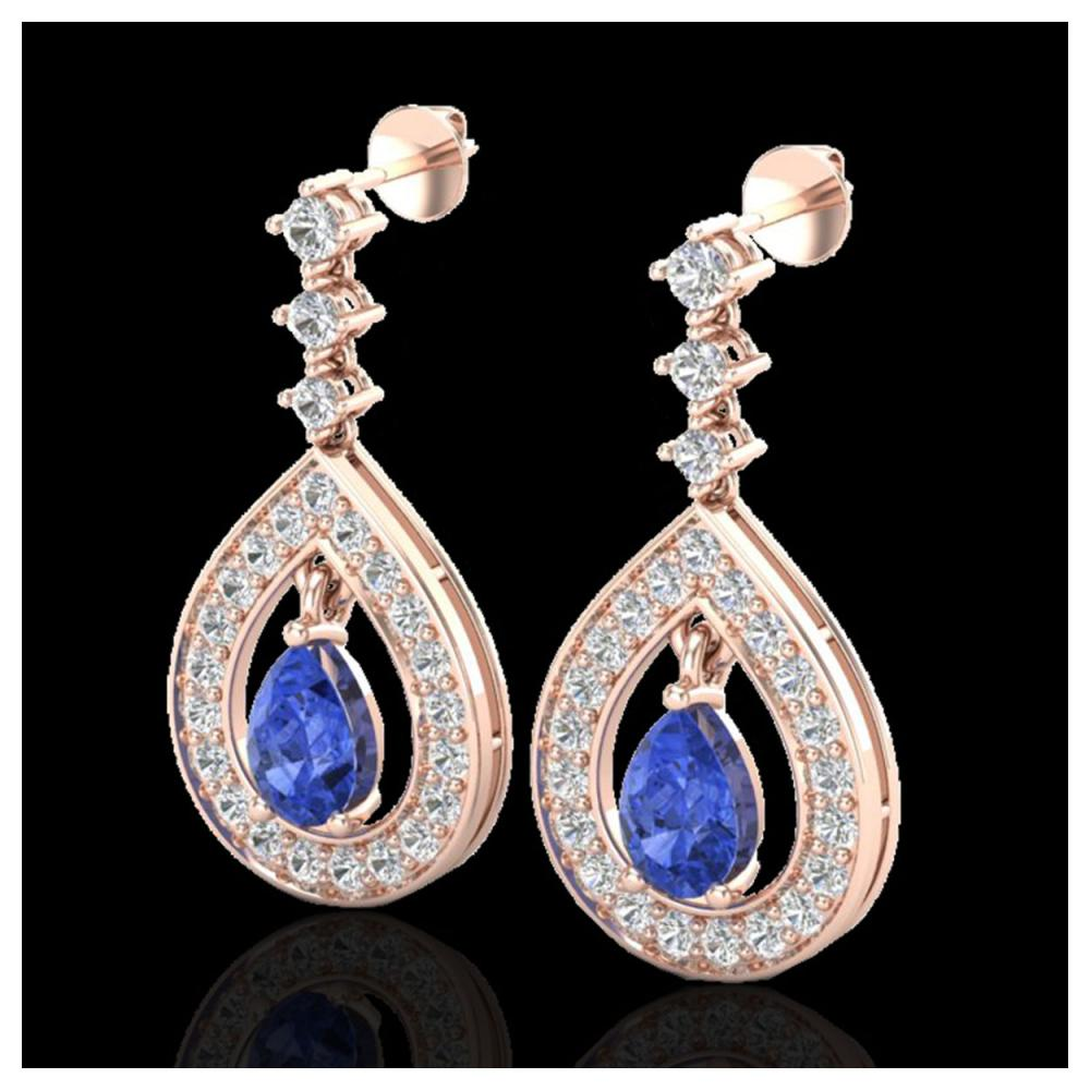 2.25 ctw Tanzanite & VS/SI Diamond Earrings 14K Rose Gold - REF-109N3A - SKU:23158
