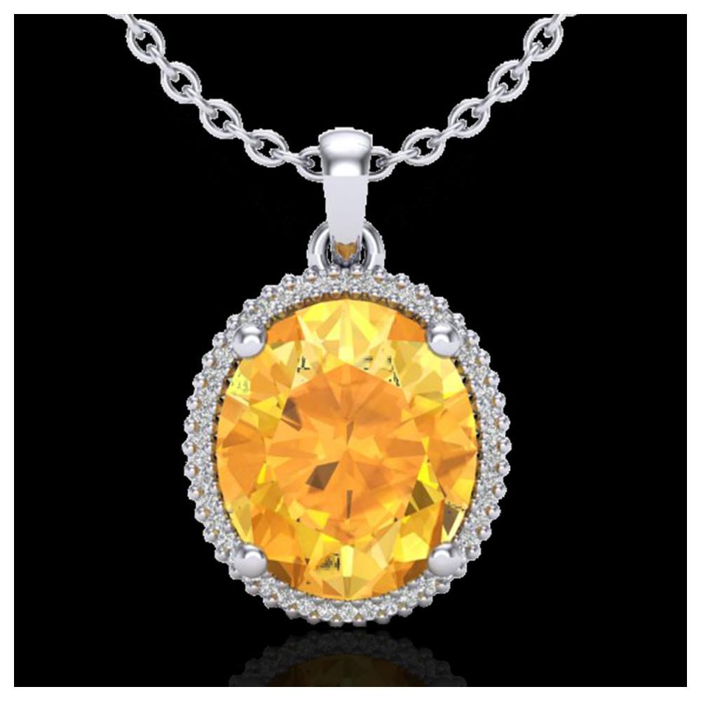 10 ctw Citrine & VS/SI Diamond Necklace 18K White Gold - REF-75W5H - SKU:20607