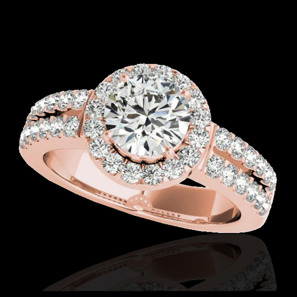 1.50 ctw H-SI/I Diamond Solitaire Halo Ring 10K Rose Gold - REF-218X2R - SKU:33990