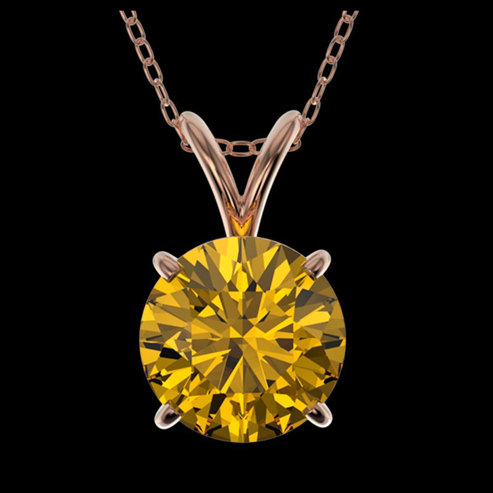 1.53 ctw Intense Yellow Diamond Necklace 10K Rose Gold - REF-285H2M - SKU:36807