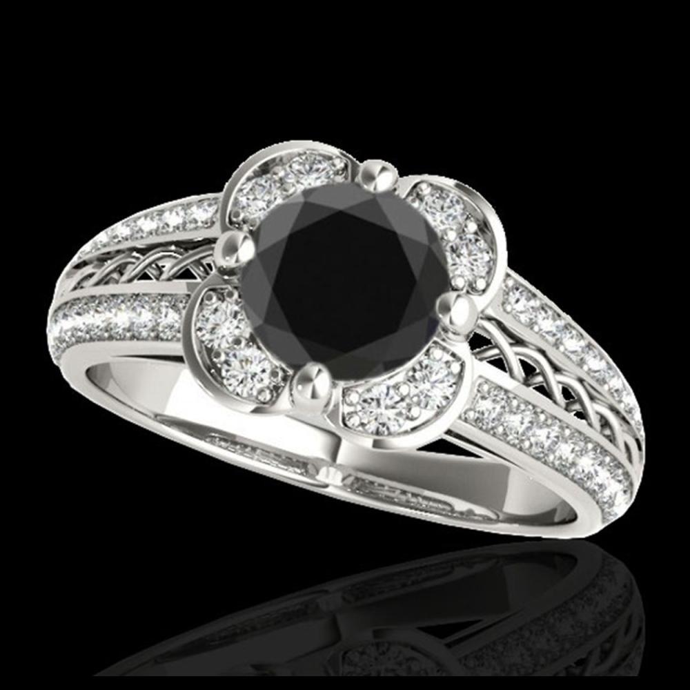 2.05 ctw VS Black Diamond Solitaire Halo Ring 10K White Gold - REF-73R9K - SKU:34268