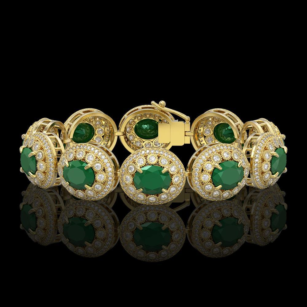 49.17 ctw Emerald & Diamond Bracelet 14K Yellow Gold - REF-1404K4W - SKU:43711