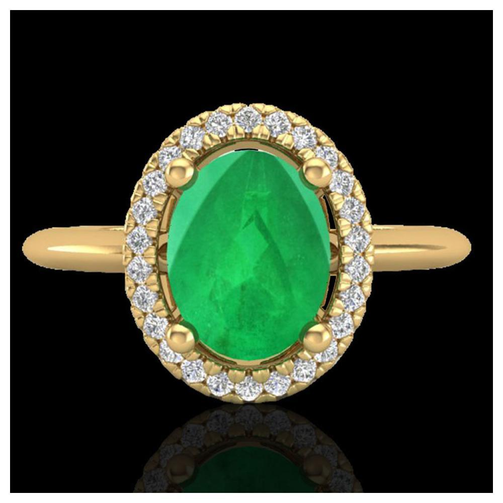 2 ctw Emerald & VS/SI Diamond Ring Halo 18K Yellow Gold - REF-56M9F - SKU:21010