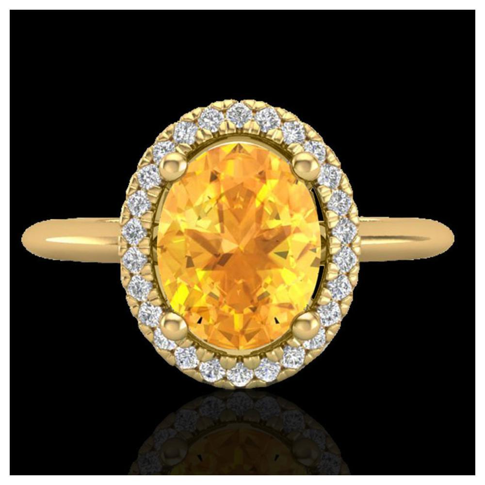 1.75 ctw Citrine & VS/SI Diamond Ring Halo 18K Yellow Gold - REF-43V6Y - SKU:21008