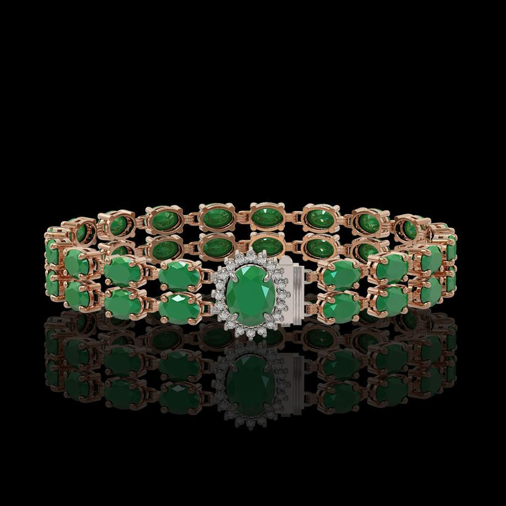 19.57 ctw Emerald & Diamond Bracelet 14K Rose Gold - REF-156F7N - SKU:45423