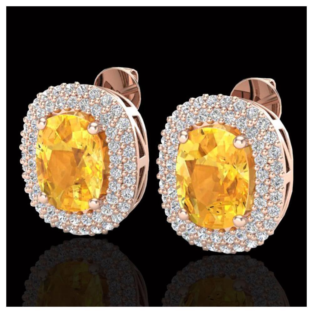 6 ctw Citrine & VS/SI Diamond Earrings 14K Rose Gold - REF-118Y2X - SKU:20117
