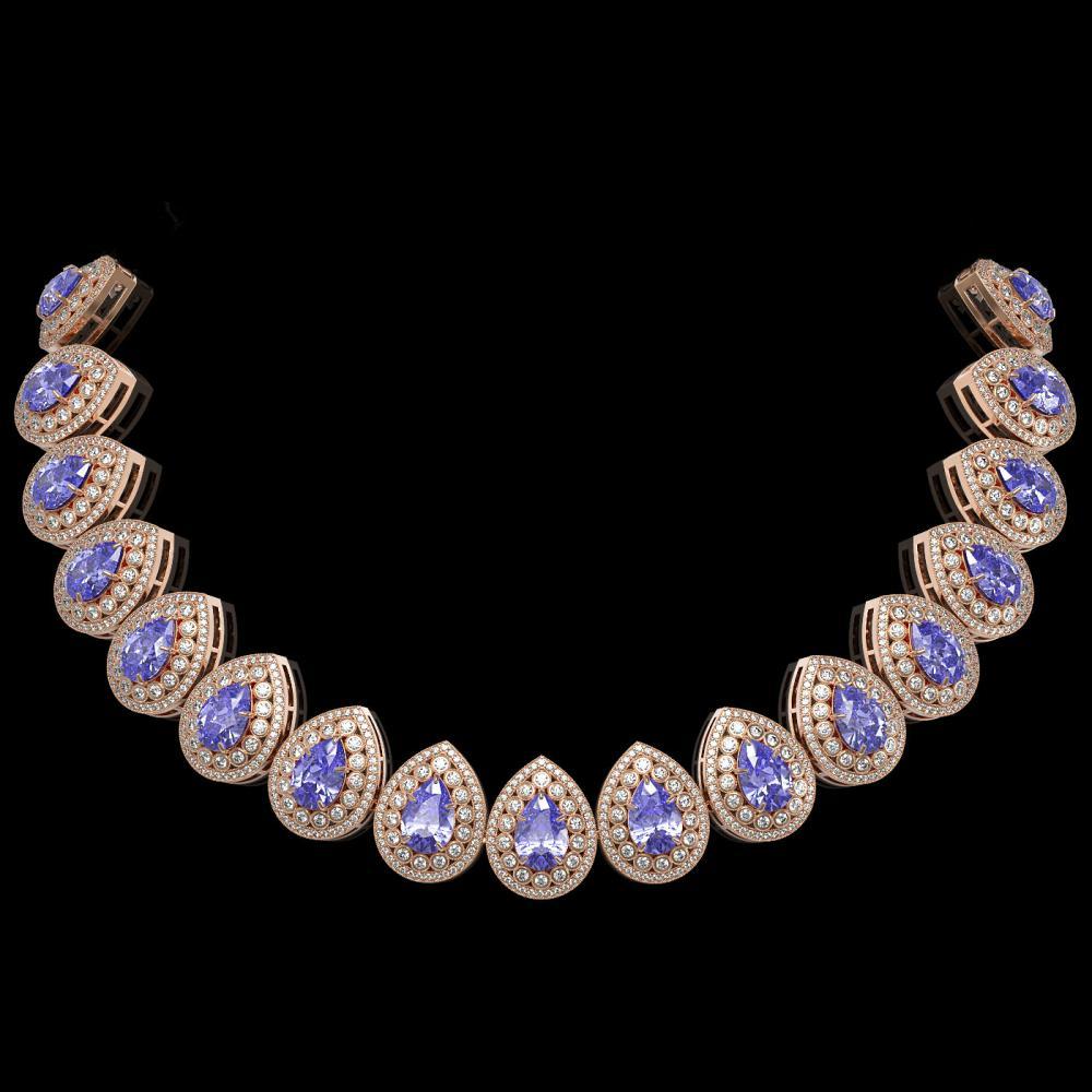 108.42 ctw Tanzanite & Diamond Necklace 14K Rose Gold - REF-4664V5Y - SKU:43236