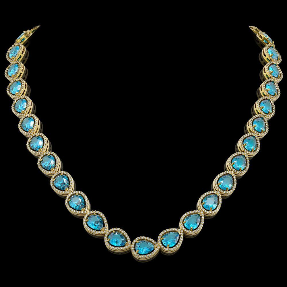 43.2 ctw Swiss Topaz & Diamond Halo Necklace 10K Yellow Gold - REF-609A8V - SKU:41221