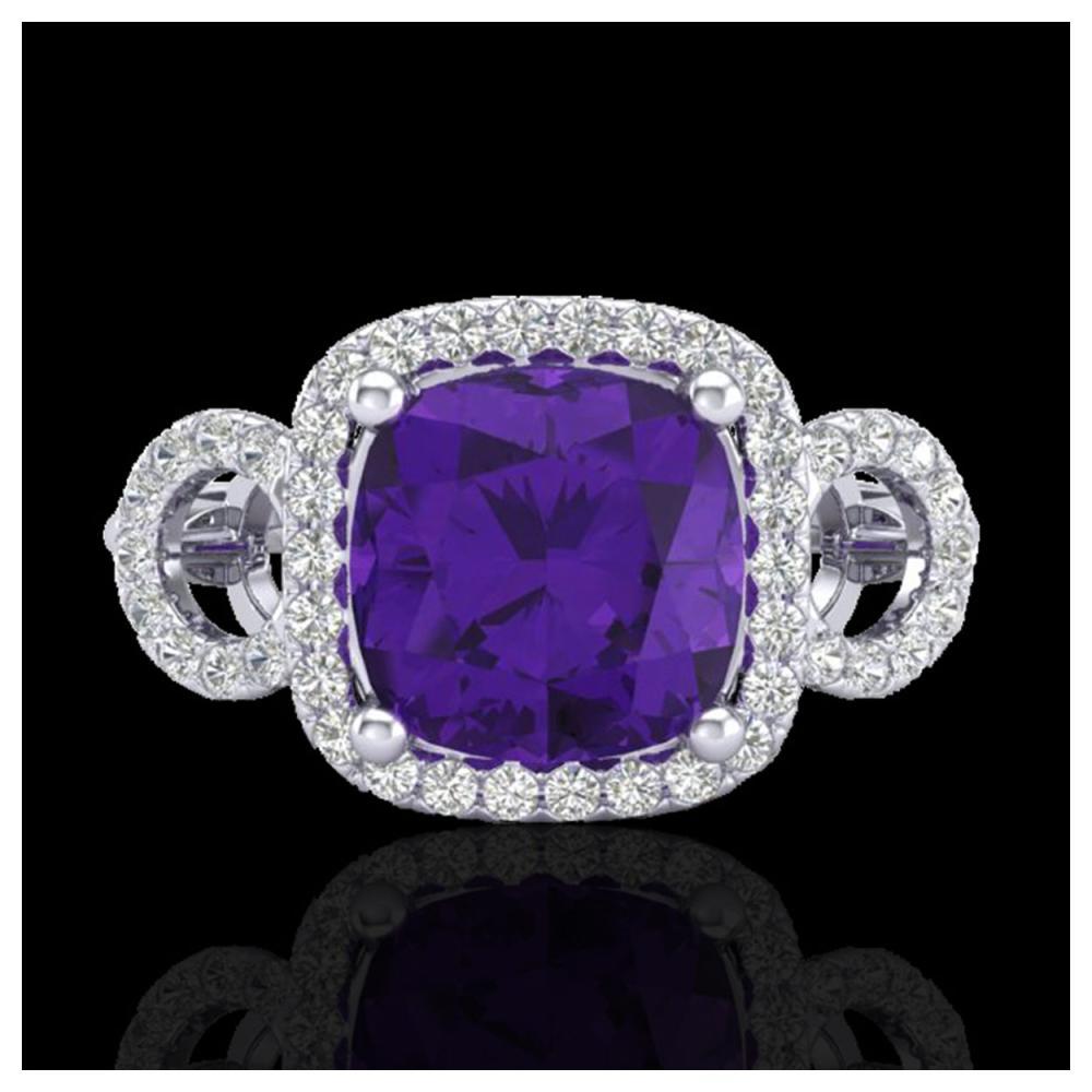 3.75 ctw Amethyst & VS/SI Diamond Ring 18K White Gold - REF-65W8H - SKU:22995
