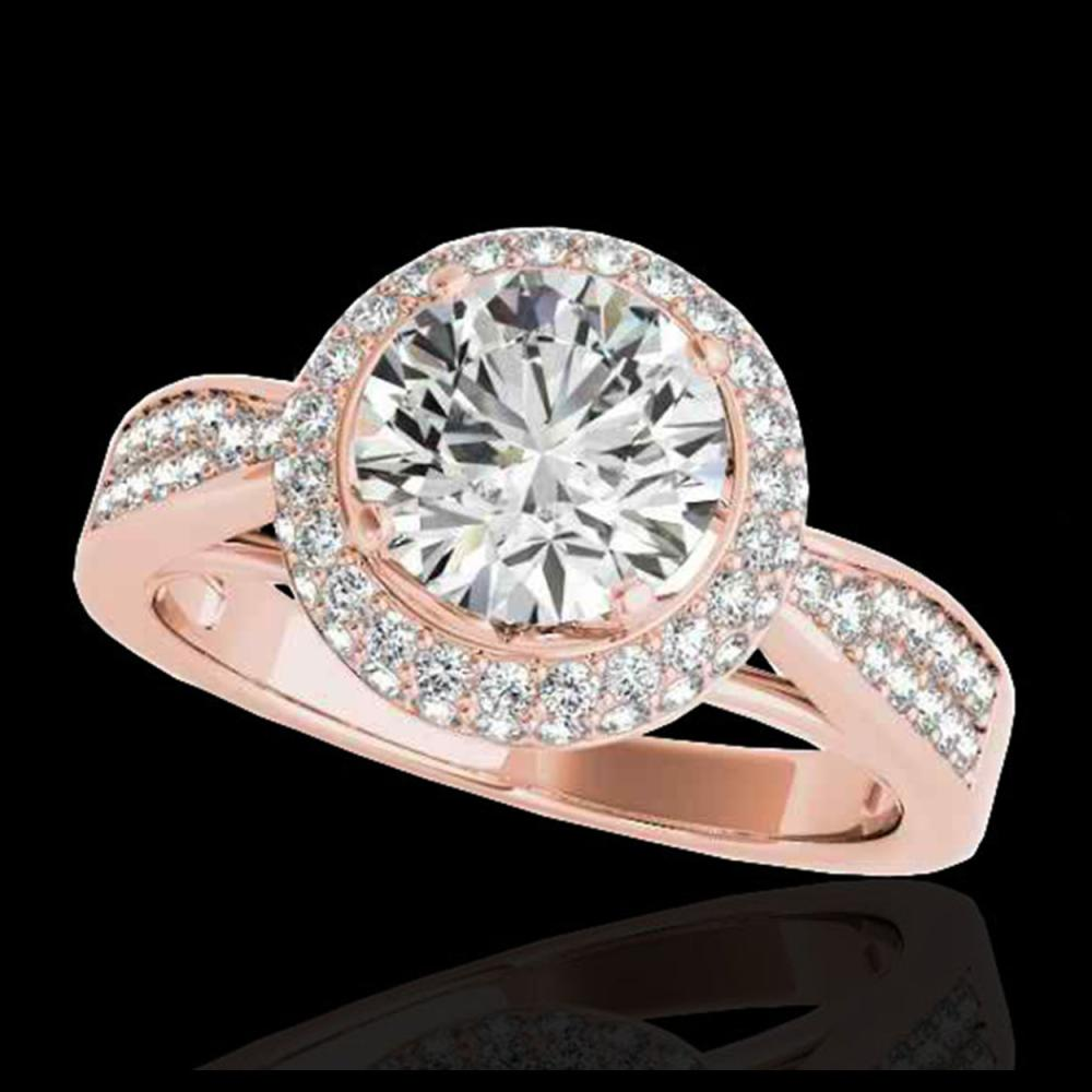 1.65 ctw H-SI/I Diamond Solitaire Halo Ring 10K Rose Gold - REF-204M5F - SKU:34406