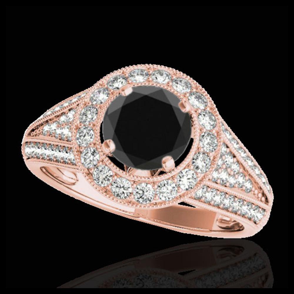 2.17 ctw VS Black Diamond Solitaire Halo Ring 10K Rose Gold - REF-67H5M - SKU:33980