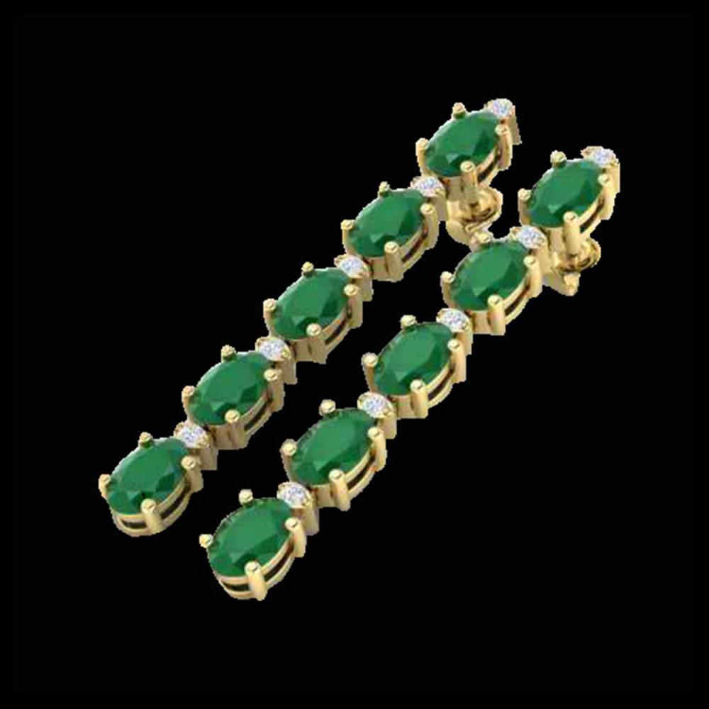 12.36 ctw Emerald & VS/SI Diamond Tennis Earrings 10K Yellow Gold - REF-93X3R - SKU:29395