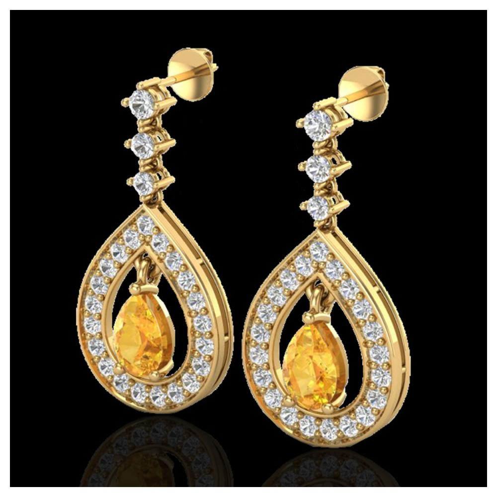 2.25 ctw Citrine & VS/SI Diamond Earrings 14K Yellow Gold - REF-99M8F - SKU:23150