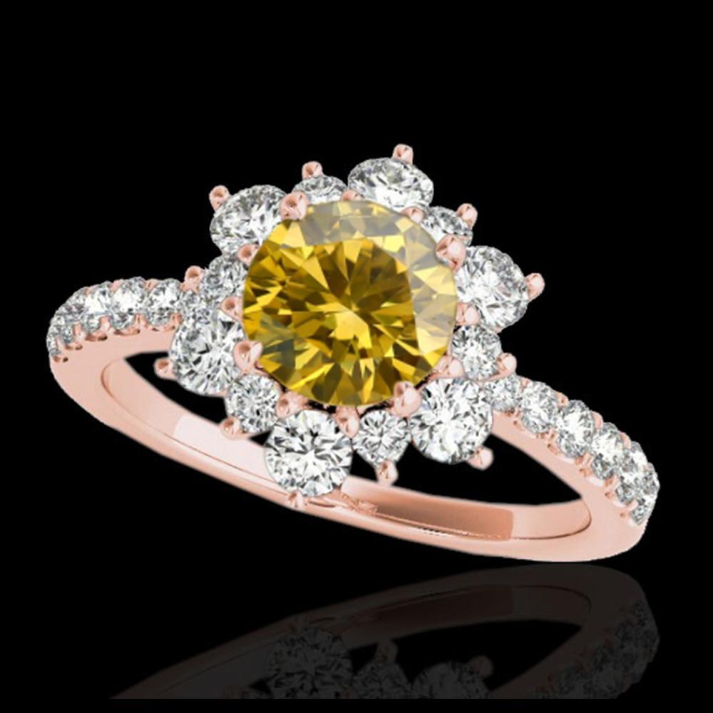 2.19 ctw SI/I Fancy Intense Yellow Diamond Ring 10K Rose Gold - REF-194R4K - SKU:33723