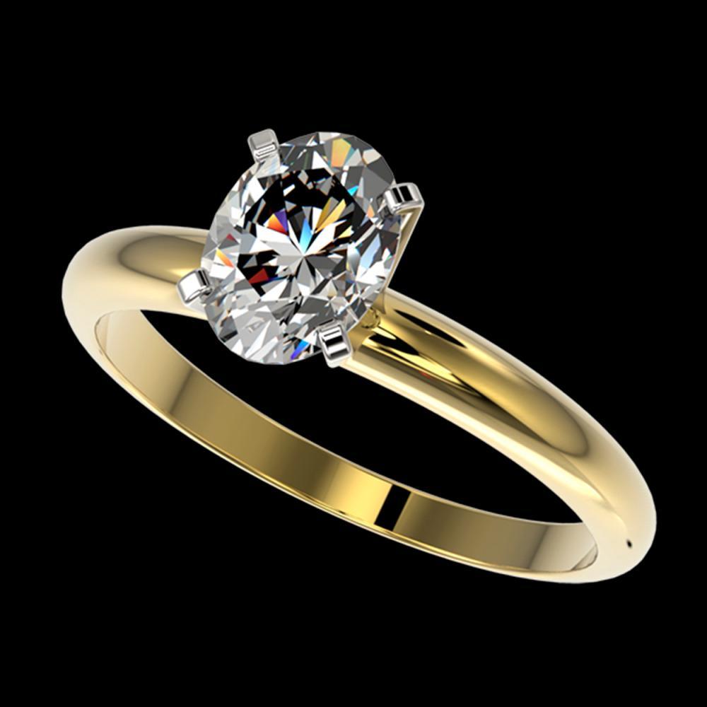 1.25 ctw VS/SI Oval Diamond Ring 10K Yellow Gold - REF-370V8Y - SKU:32915