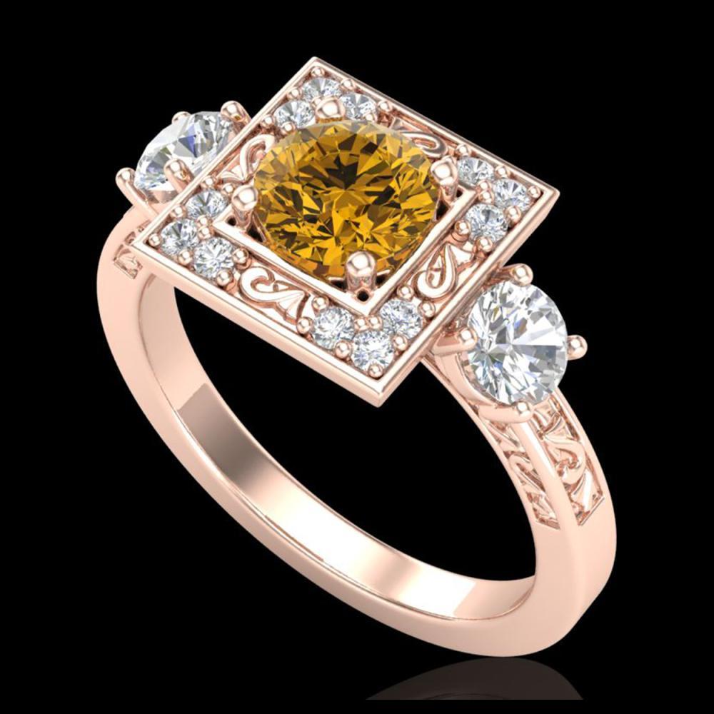 1.55 ctw Intense Fancy Yellow Diamond Art Deco Ring 18K Rose Gold - REF-178K2W - SKU:38177