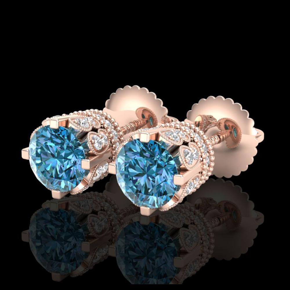 3 ctw Fancy Intense Blue Diamond Art Deco Earrings 18K Rose Gold - REF-349H3M - SKU:37363