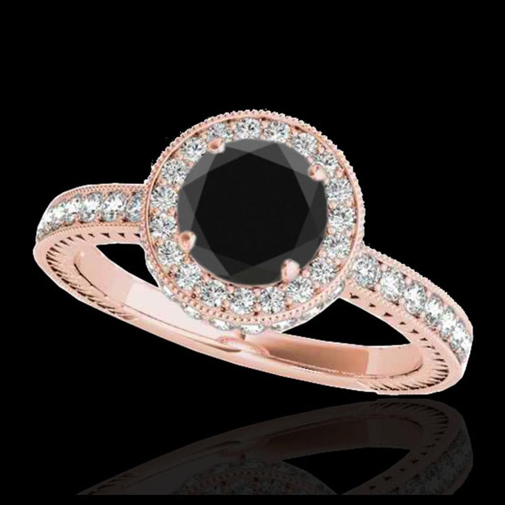 1.51 ctw VS Black Diamond Solitaire Halo Ring 10K Rose Gold - REF-56V3Y - SKU:34305