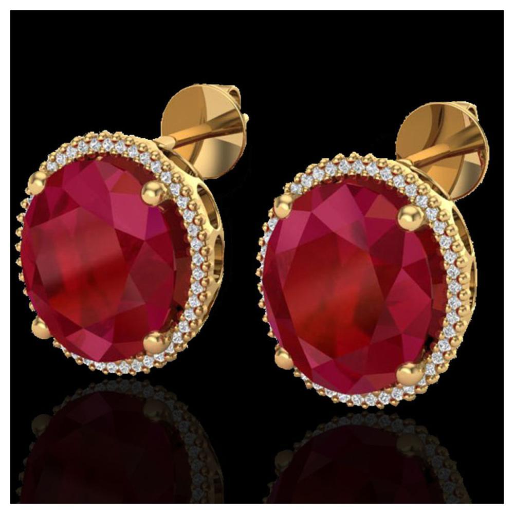 25 ctw Ruby & VS/SI Diamond Earrings 18K Yellow Gold - REF-254K5W - SKU:20276