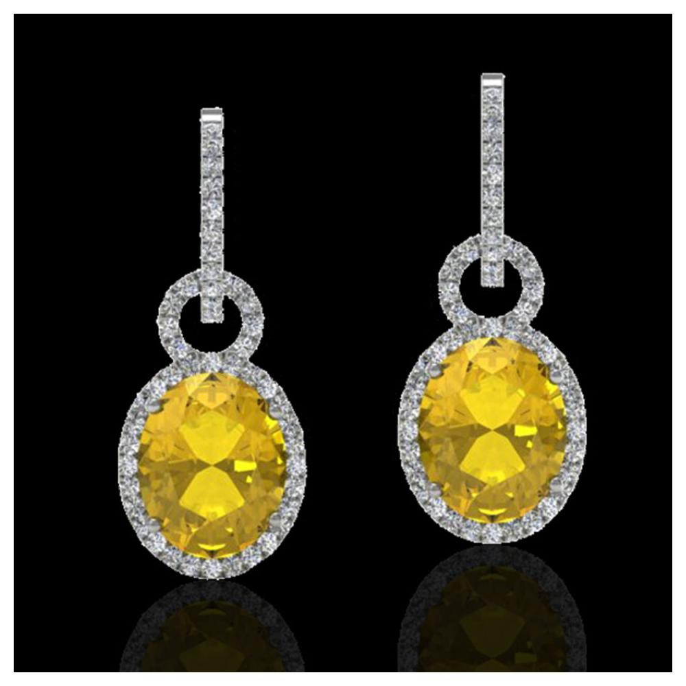 6 ctw Citrine & Halo VS/SI Diamond Earrings 14K White Gold - REF-98K2W - SKU:22731