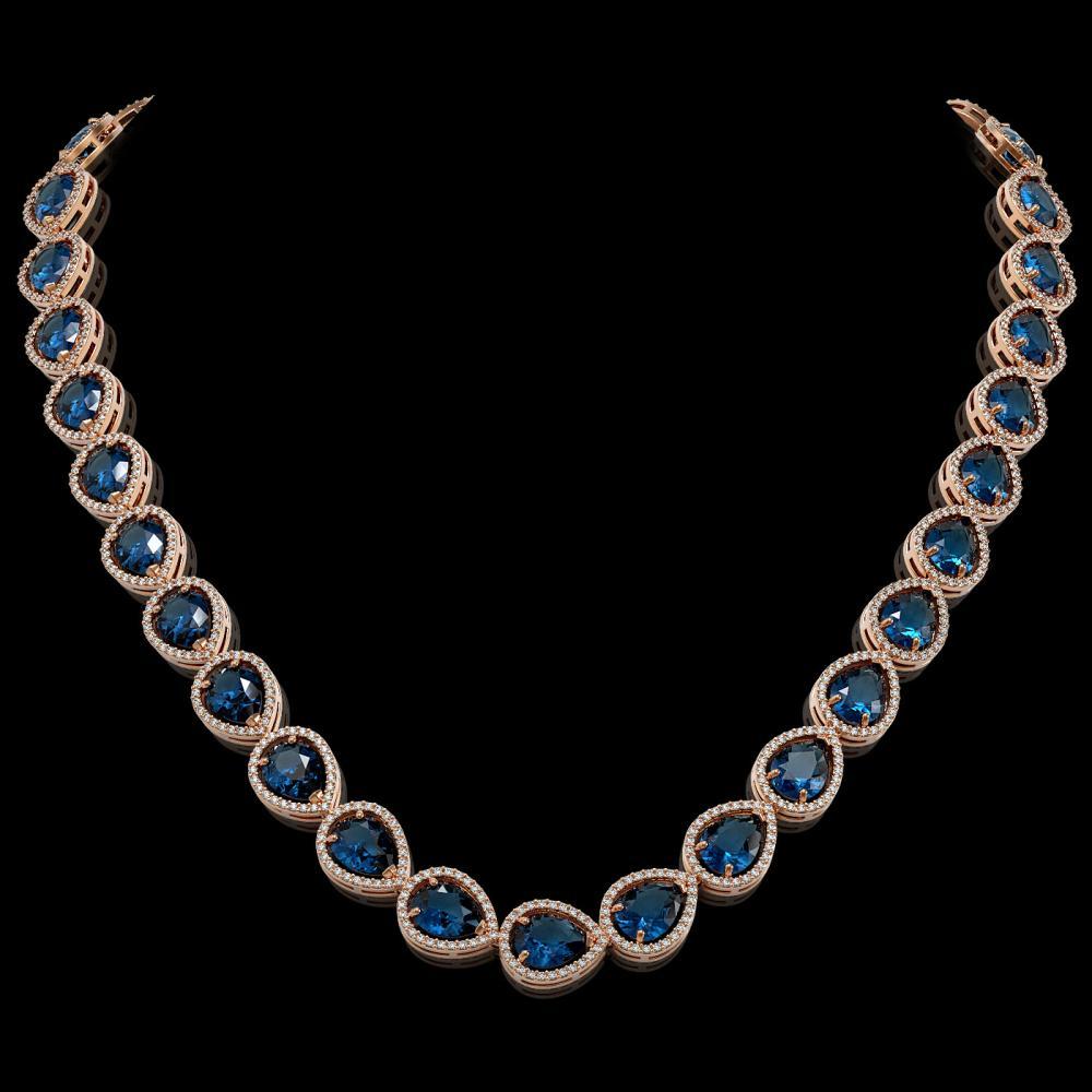 44.8 ctw London Topaz & Diamond Halo Necklace 10K Rose Gold - REF-625F3N - SKU:41223