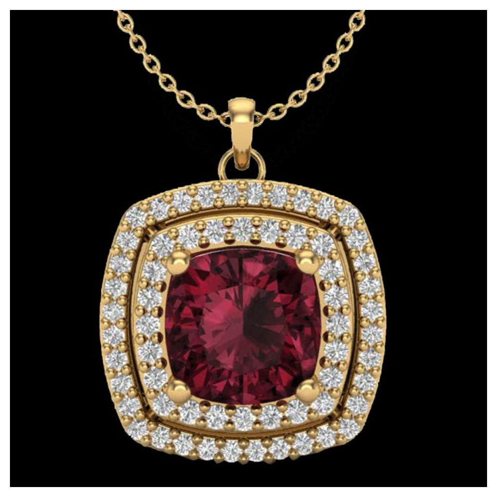 2.27 ctw Garnet & VS/SI Diamond Necklace 18K Yellow Gold - REF-63M3F - SKU:20458