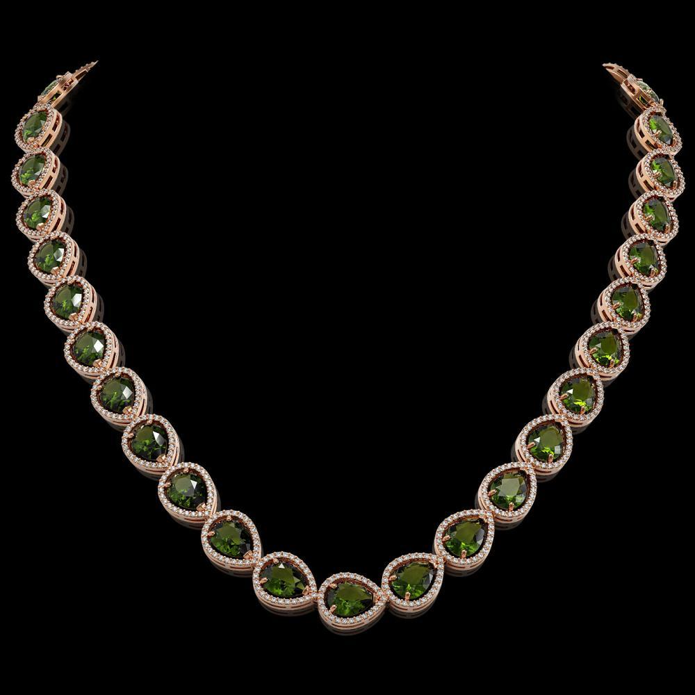 41.6 ctw Tourmaline & Diamond Halo Necklace 10K Rose Gold - REF-768A4V - SKU:41208