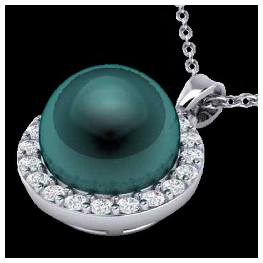 0.25 ctw Diamond & Peacock Pearl Necklace 18K White Gold - REF-40A9V - SKU:21571