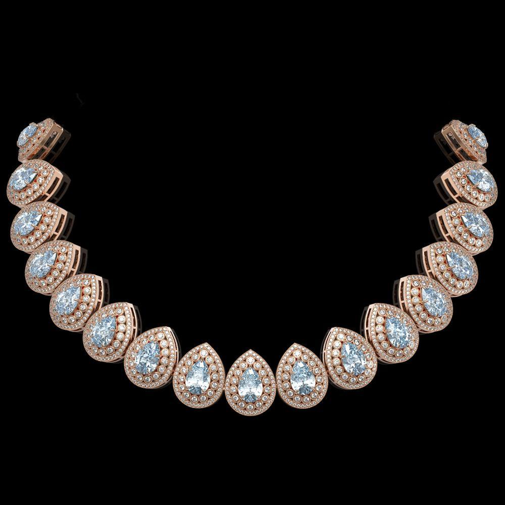 92.83 ctw Aquamarine & Diamond Necklace 14K Rose Gold - REF-3851F5N - SKU:43239