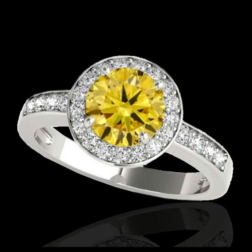 1.40 ctw SI/I Fancy Intense Yellow Diamond Ring 10K White Gold - REF-200K5W - SKU:34349