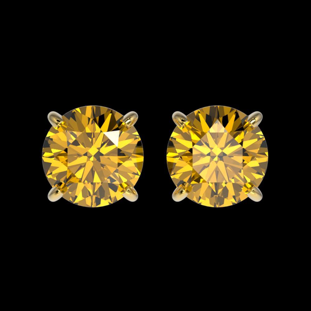 1.50 ctw Intense Yellow Diamond Stud Earrings 10K Yellow Gold - REF-192H2M - SKU:33079