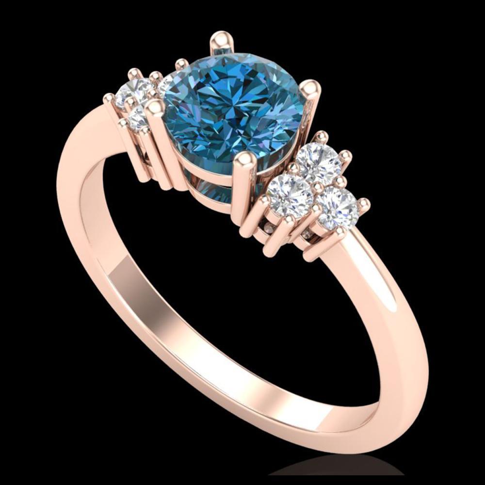 1 ctw Fancy Intense Blue Diamond Ring 18K Rose Gold - REF-145H5M - SKU:37594