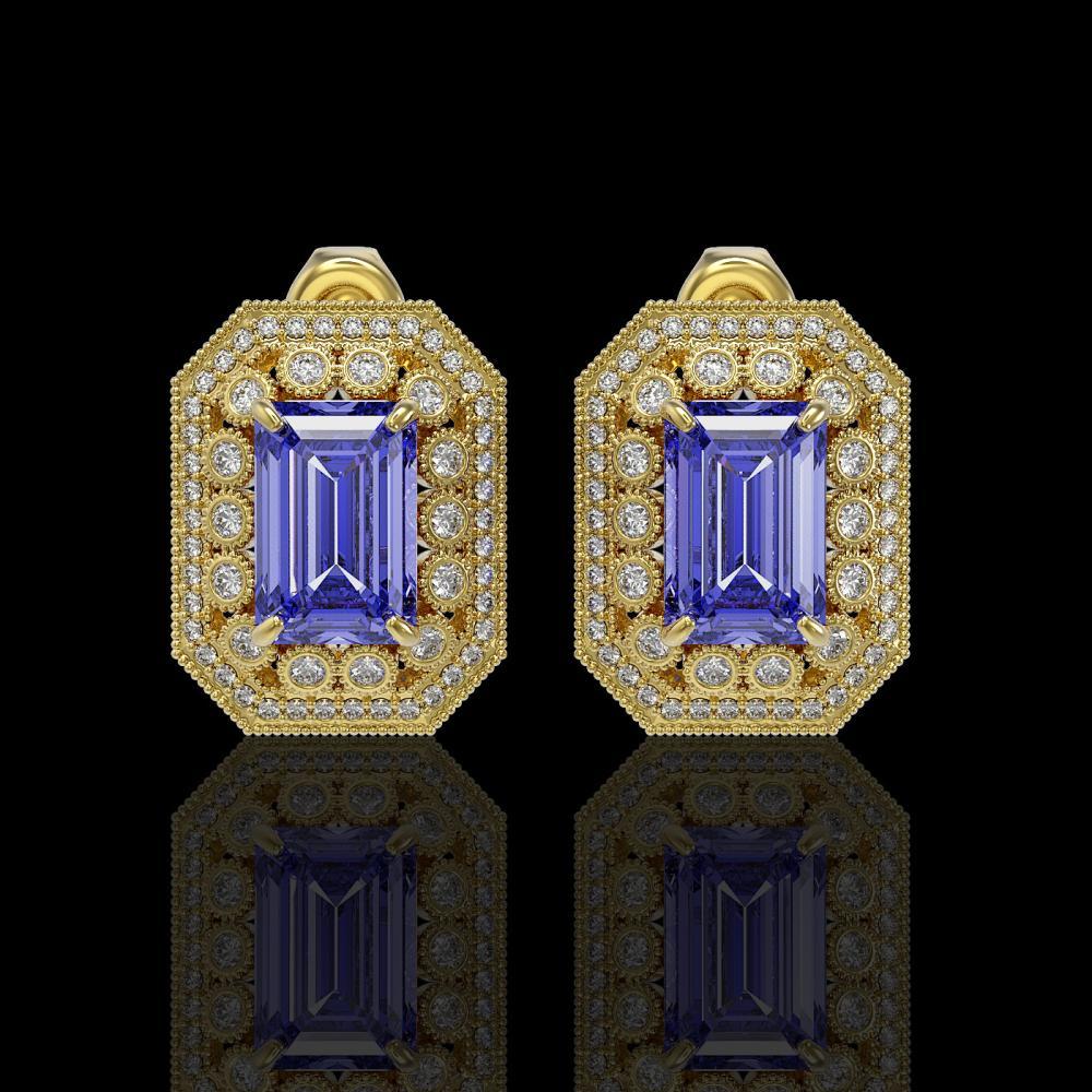 11.25 ctw Tanzanite & Diamond Earrings 14K Yellow Gold - REF-455X8R - SKU:43423