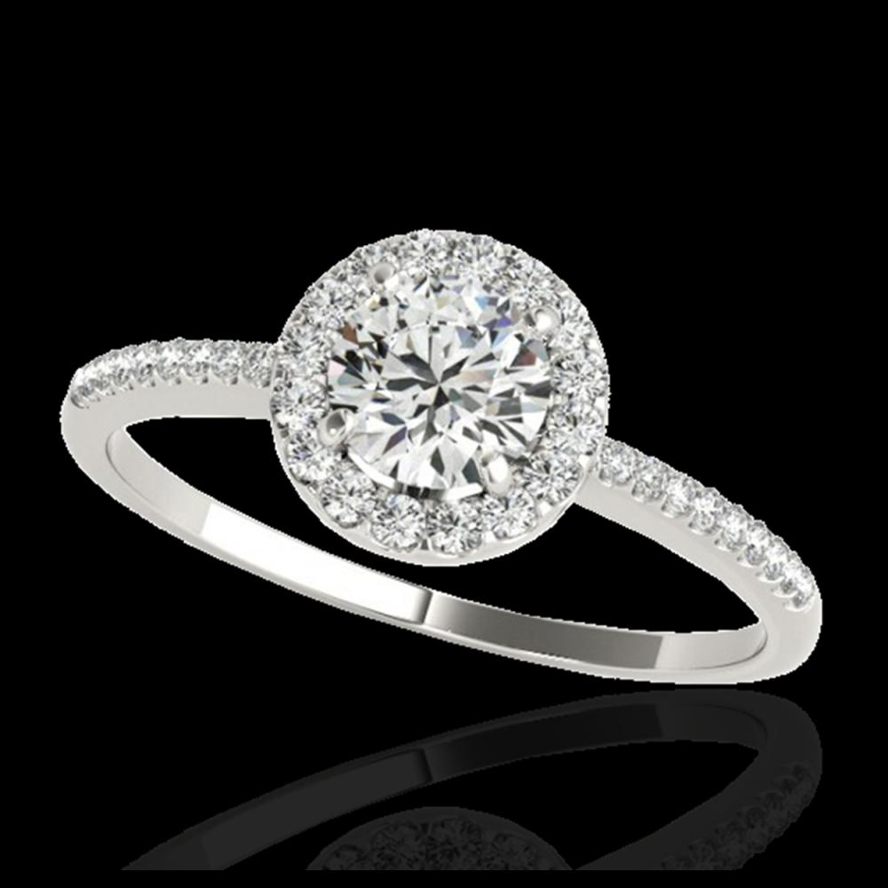 1.20 ctw H-SI/I Diamond Solitaire Halo Ring 10K White Gold - REF-174A5V - SKU:33499
