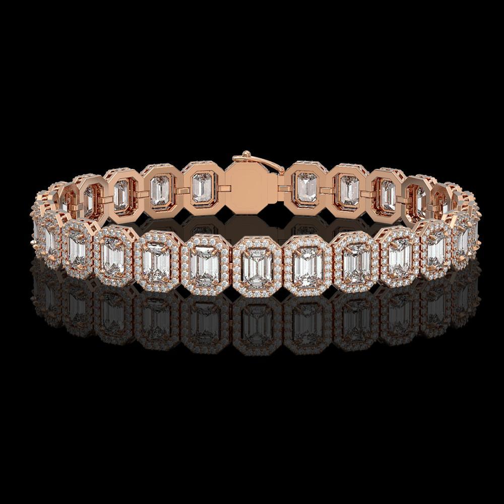 17.28 ctw Emerald Diamond Bracelet 18K Rose Gold - REF-2686A8V - SKU:42789