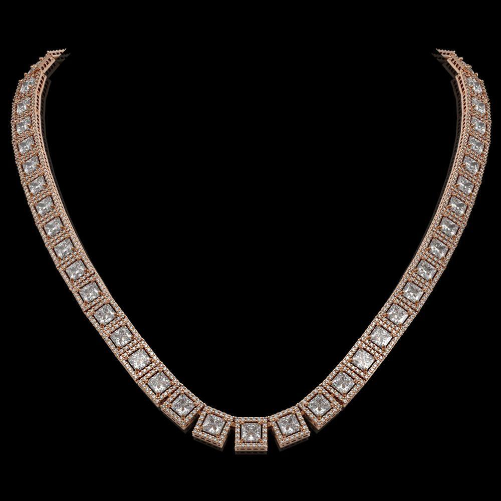 36.30 ctw Princess Diamond Necklace 18K Rose Gold - REF-4964F3N - SKU:42633