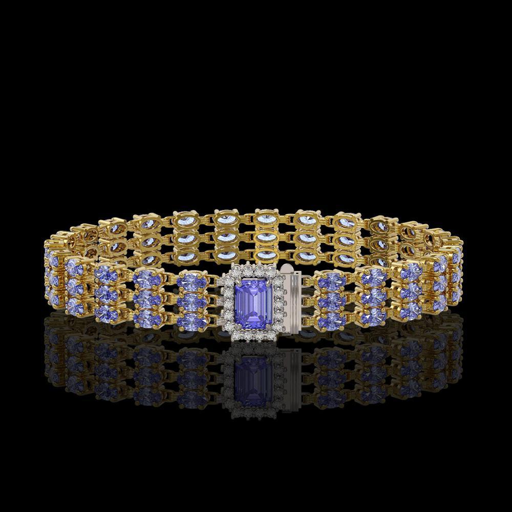 24.18 ctw Tanzanite & Diamond Bracelet 14K Yellow Gold - REF-299Y3X - SKU:45946
