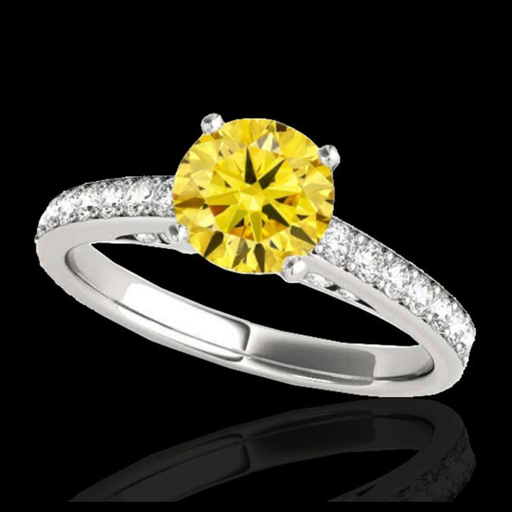 1.50 ctw SI/I Fancy Intense Yellow Diamond Ring 10K White Gold - REF-184V3Y - SKU:34869