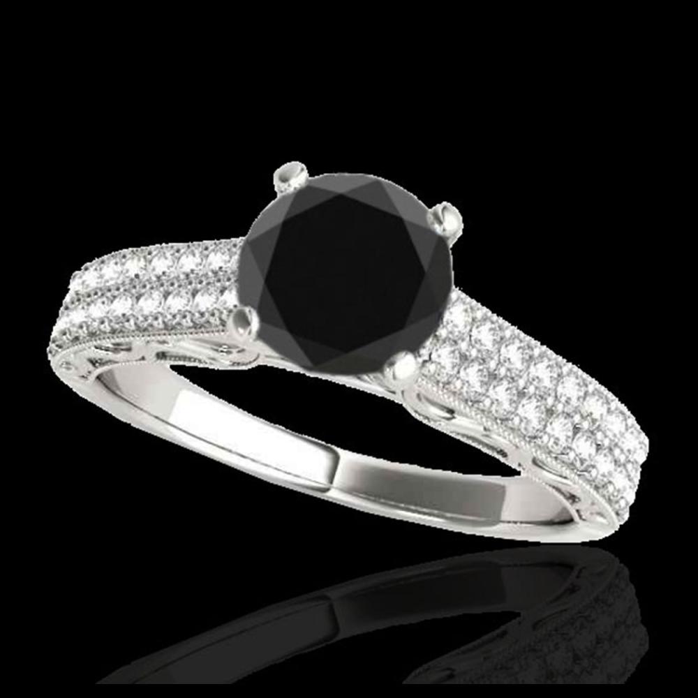 1.91 ctw VS Black Diamond Solitaire Ring 10K White Gold - REF-53W2H - SKU:34705