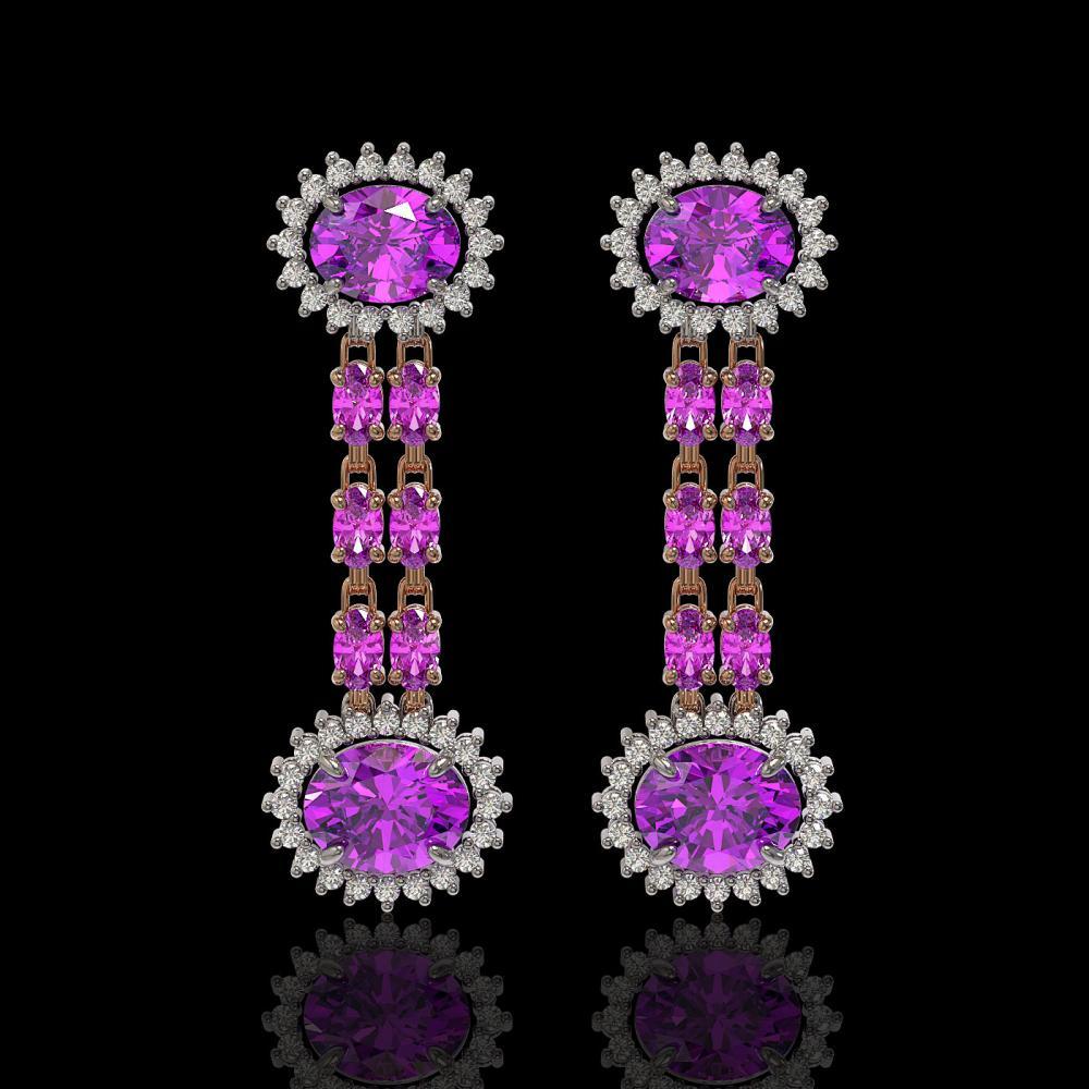 8.19 ctw Amethyst & Diamond Earrings 14K Rose Gold - REF-144X5R - SKU:44322