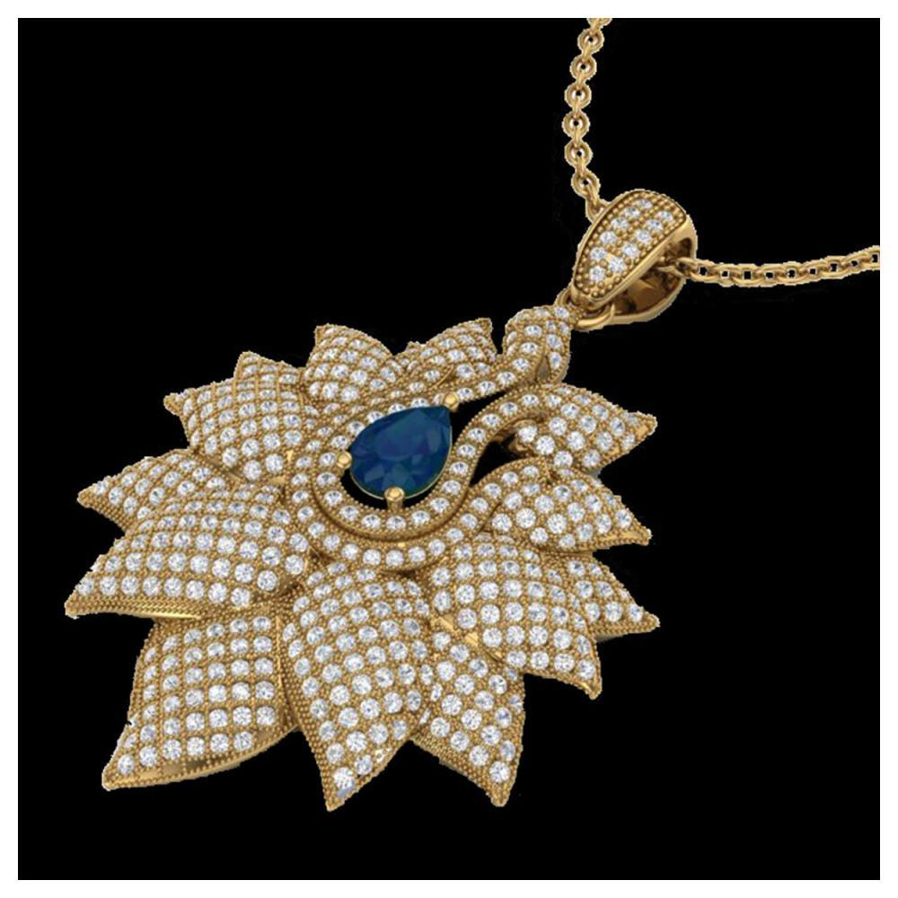 3 ctw Sapphire & VS/SI Diamond Necklace 18K Yellow Gold - REF-290F9N - SKU:22566
