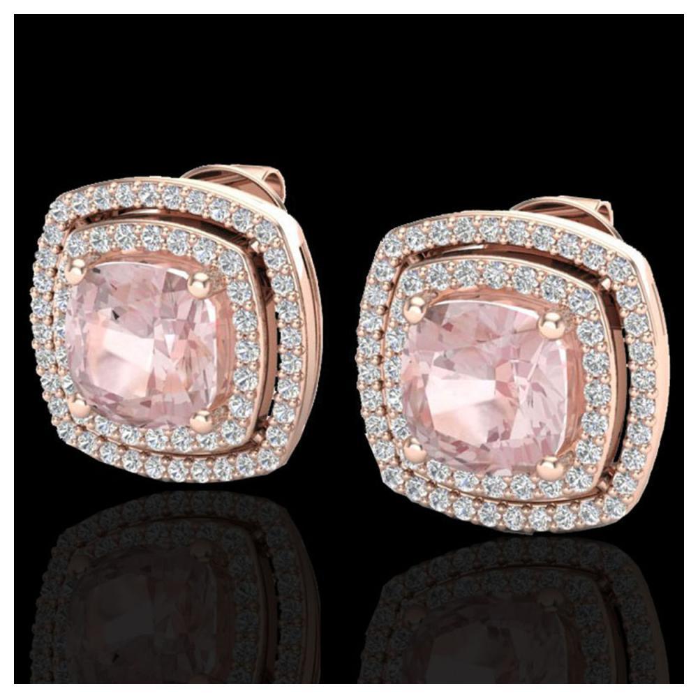 3.95 ctw Morganite & VS/SI Diamond Earrings 14K Rose Gold - REF-106X2R - SKU:20167