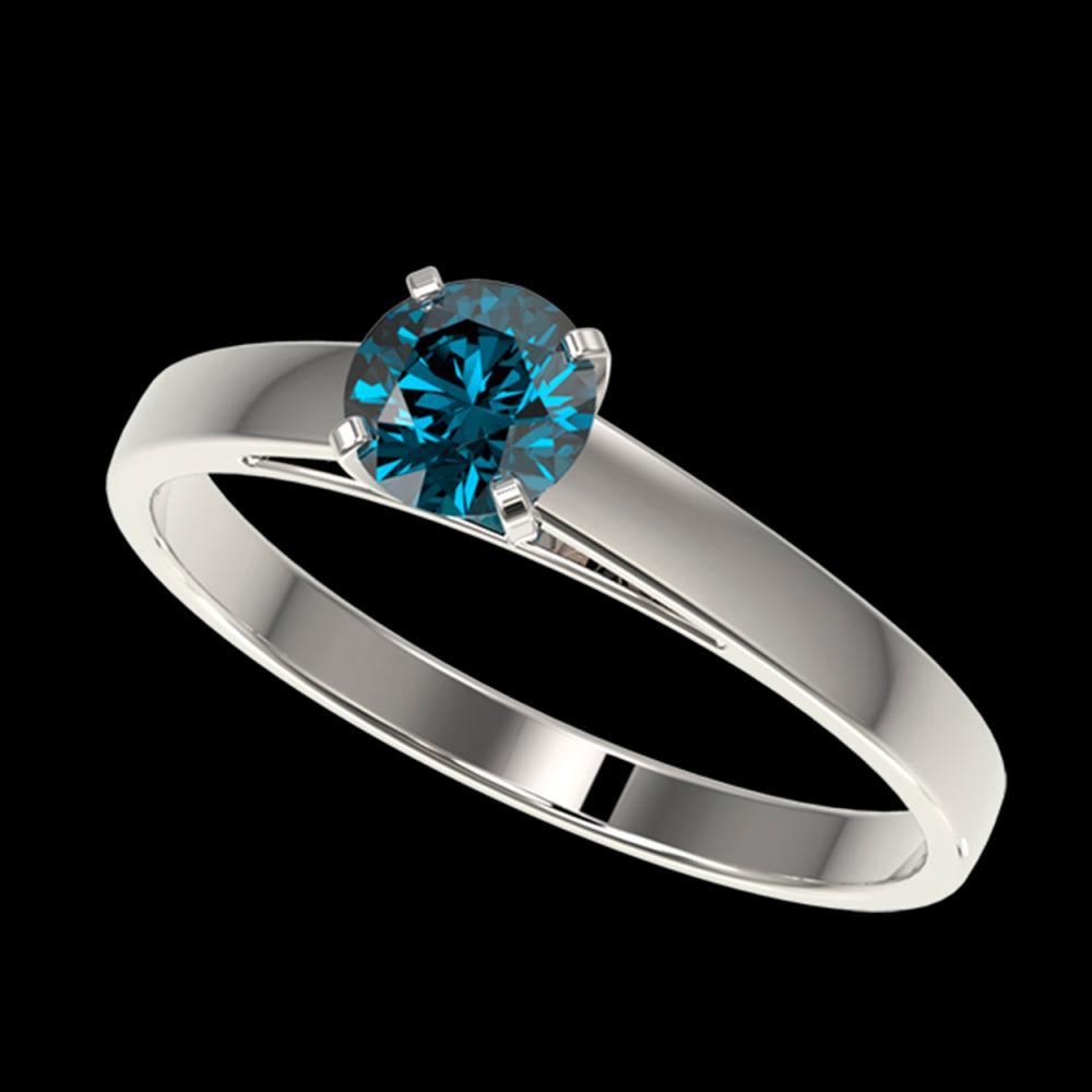 0.56 ctw Intense Blue Diamond Ring 10K White Gold - REF-50N3A - SKU:36469
