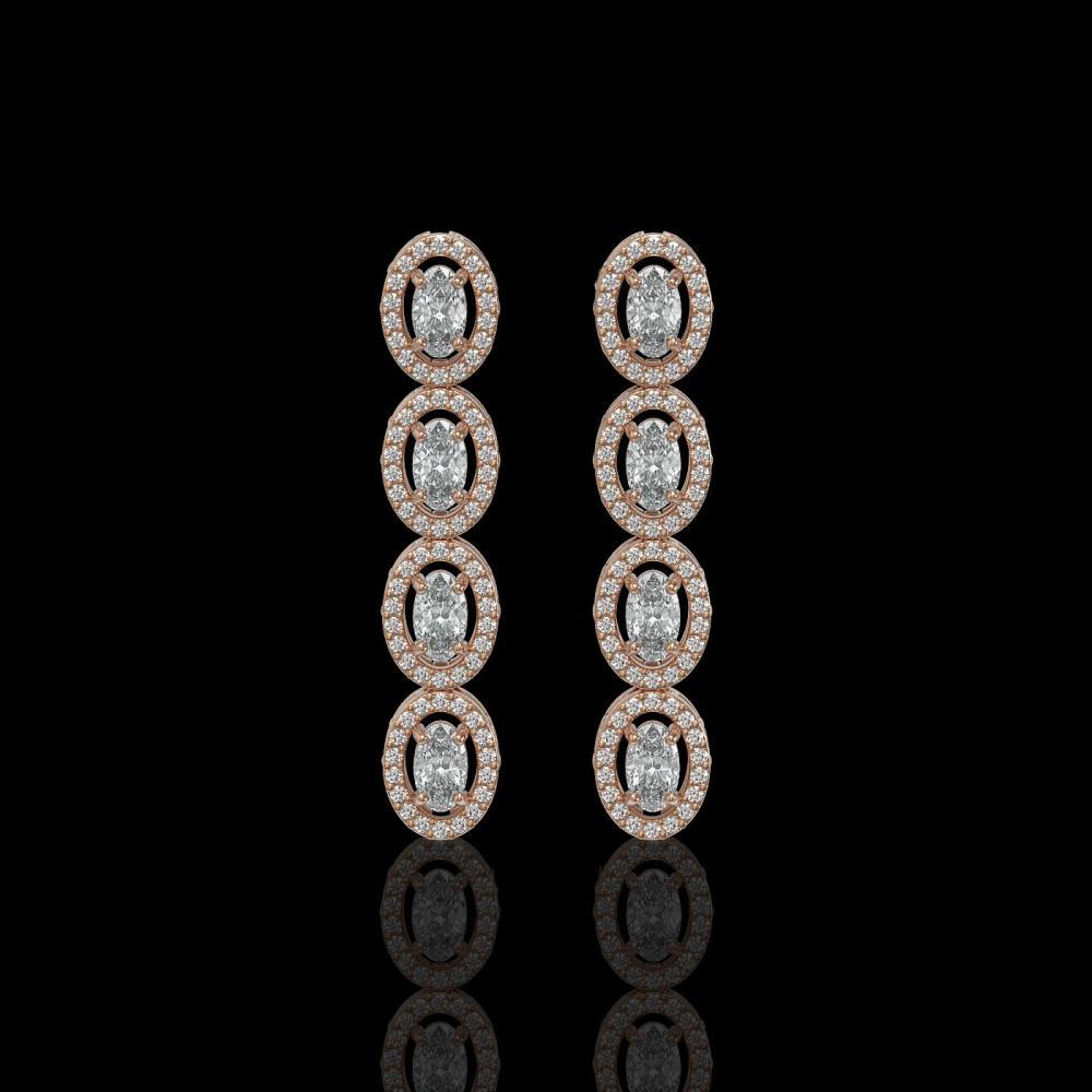 3.84 ctw Oval Diamond Earrings 18K Rose Gold - REF-334Y6X - SKU:42891