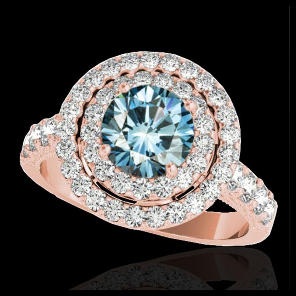 2.25 ctw SI Fancy Blue Diamond Halo Ring 10K Rose Gold - REF-163W6H - SKU:34217