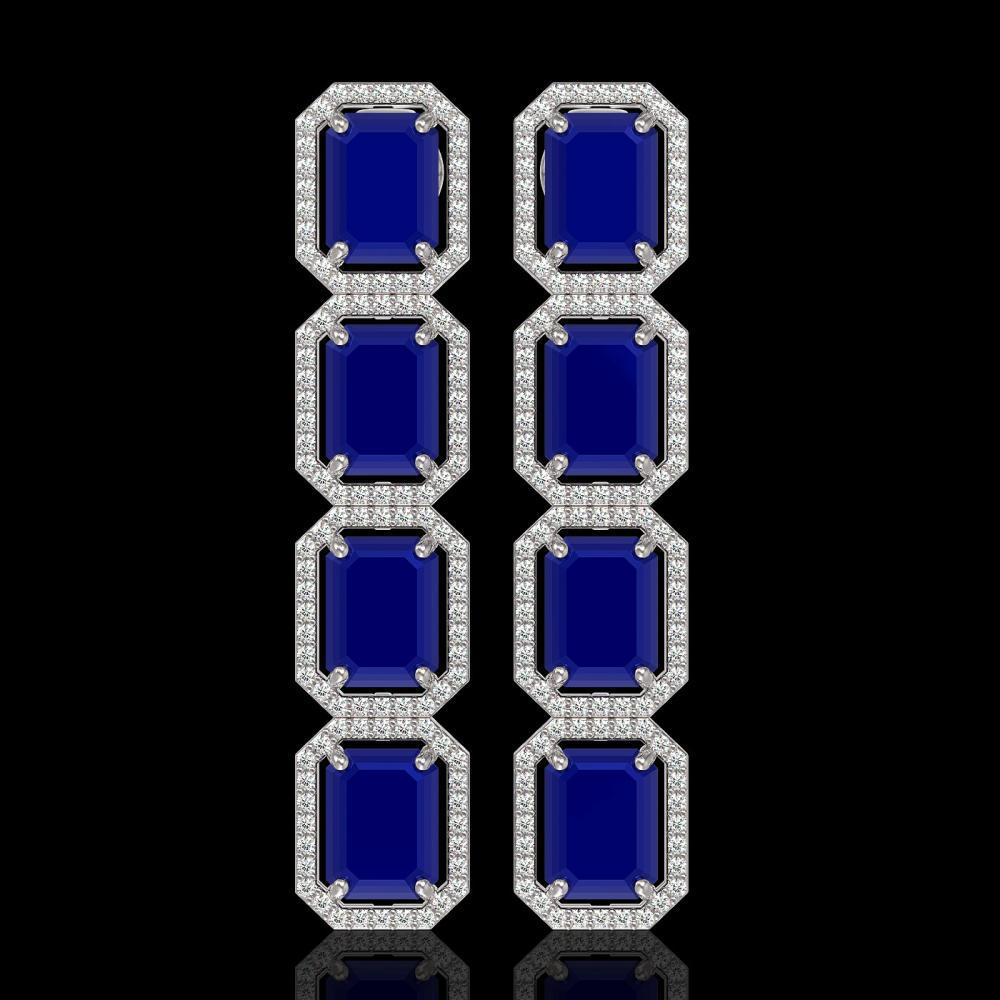 20.59 ctw Sapphire & Diamond Halo Earrings 10K White Gold - REF-213N8A - SKU:41576