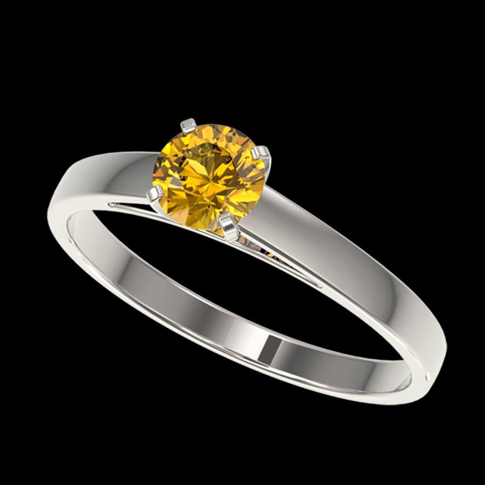 0.50 ctw Intense Yellow Diamond Ring 10K White Gold - REF-73H5M - SKU:32960