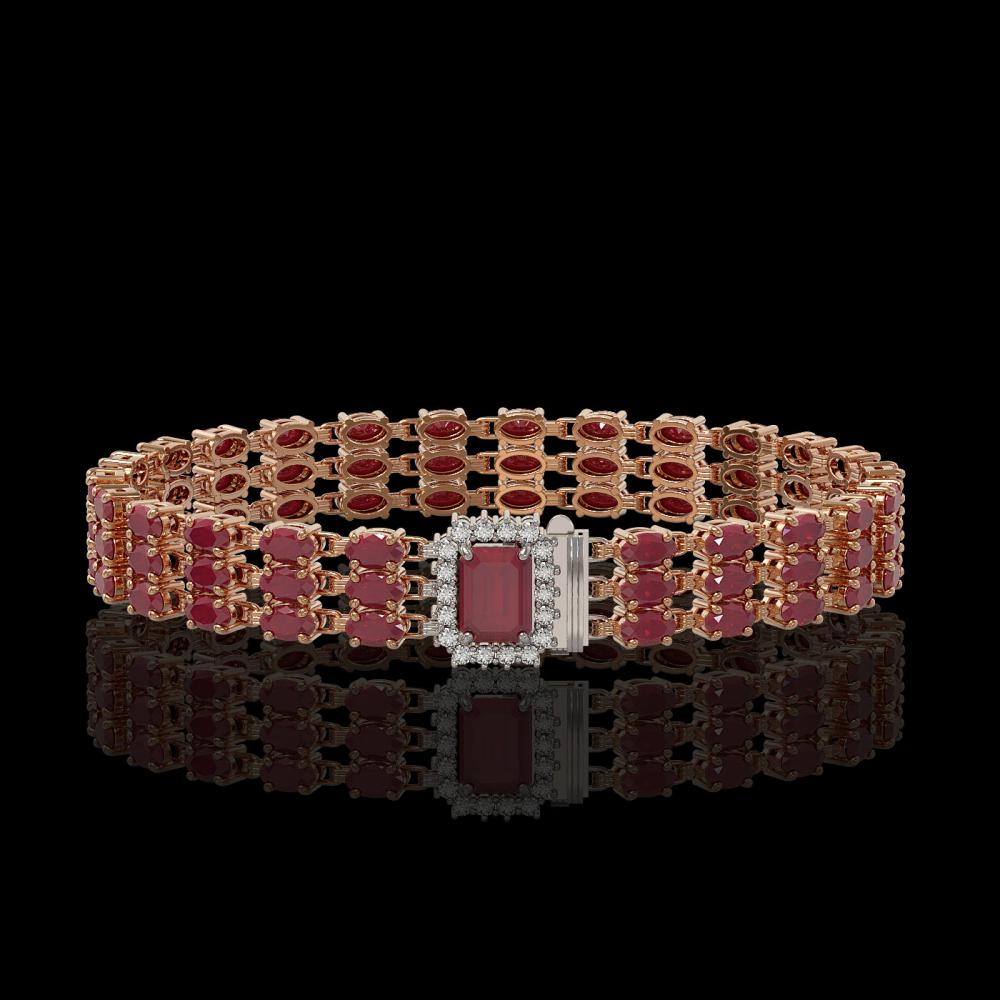 28.74 ctw Ruby & Diamond Bracelet 14K Rose Gold - REF-287X8R - SKU:45939