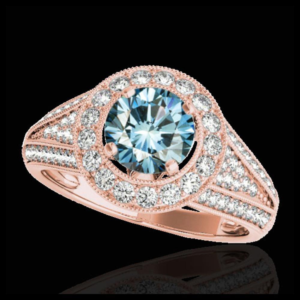 2.17 ctw SI Fancy Blue Diamond Halo Ring 10K Rose Gold - REF-259A3V - SKU:33982